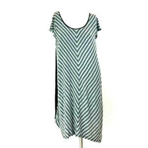 Gray Stripe Cap Sleeve Asymmetric Super Soft Dress